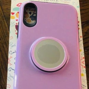 iPhone X Case with Mirror Kickstand Pop Socket